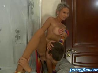Licking  Mom Old and Young Russian Showers