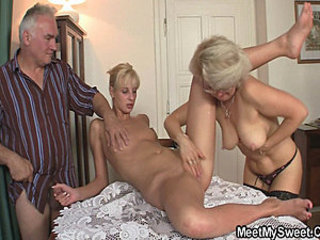 His GF plus parents adjacent to hot threesome