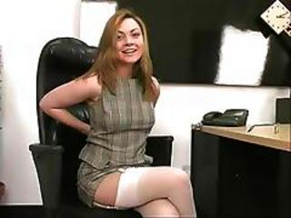 Amazing Cute Office Secretary Stockings Teen