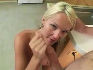 Amateur Blonde Girlfriend Handjob Homemade Kitchen Pov Teen
