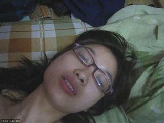 Amateur Asian Cute Glasses Teen