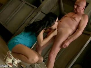 Teen fucking with grandpa in public toilet by reno78