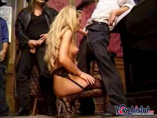 Amazing Blonde Blowjob Gangbang   Stockings