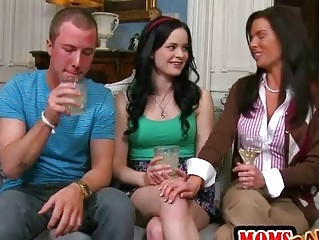 Daughter Drunk Family  Mom Old and Young Teen Threesome