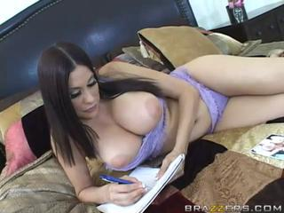 Adorable busty brunette wife masturbating her pussy