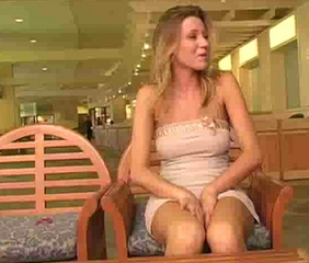 A Little pussy play in hotel lobby