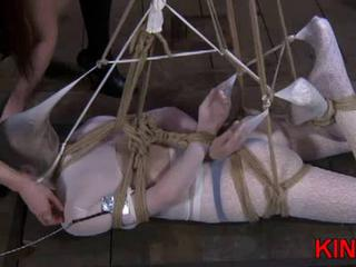 Pretty girl hogtied by her mistress