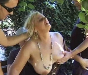 Mature blonde dp'd in parking-lot