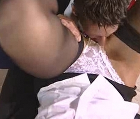 British slut Angel Long FMM triad in stockings