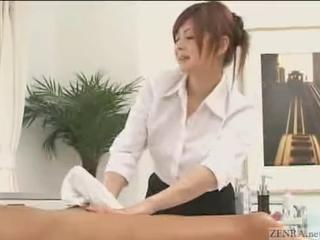 Japanese Masseuse Give More Than A Rubdown, She Jacks Him Off