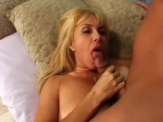 MILF Blonde Blowjob Bus