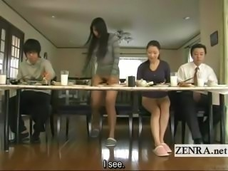 Subtitled bizarre Japanese bottomless no cut-offs family
