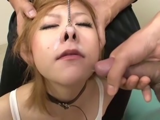 Blonde Japanese boxer gets cum up her nose!