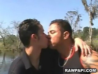 Latin gay barebacking with big muscled dude