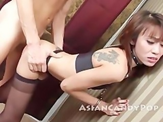 Asian Doggystyle  Skinny Stockings Tattoo