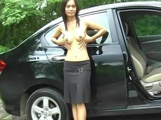 Thai amatuer gal teasing without a stitch on