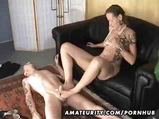 Four-eyed Girl Gives Handjob, Footjob And Blowjob To Her Fuckmate