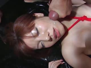 Aki Yatoh Sucks Together with Fucks His Cock Together with Then Gets Messy Facial