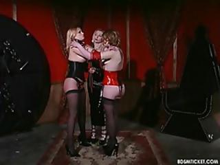 Bdsm Blonde Latex  Threesome