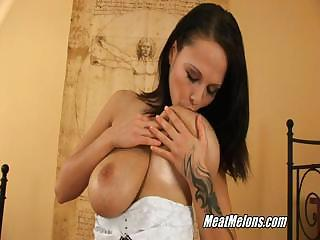Busty Brunette Dominno Serves Guy In Motel Room