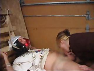 Dude In A Ball Gag Gets Flogged And A Blowjob