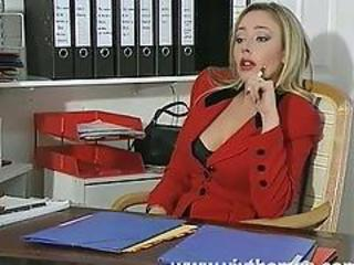 Busty boss in office orifice sex