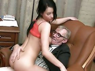 Brunette Cute Old and Young Riding Teacher Teen