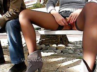 Masturbating Outdoor Public Stockings