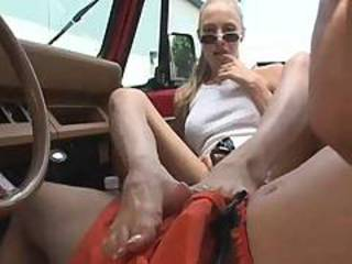 Blonde Car Feet Glasses Teen