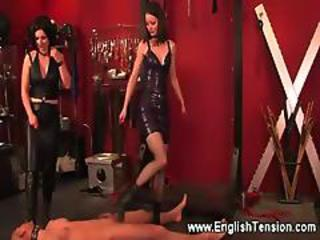 Dominas Paddle Their Pathetic Collared Sub