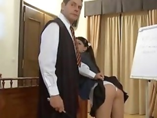 Cute European Schoolgirl gets gangbanged