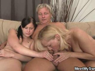 GF rides her BF's dad cock after lezzie with mom