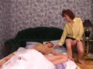 Son wakes up from mom blowjob