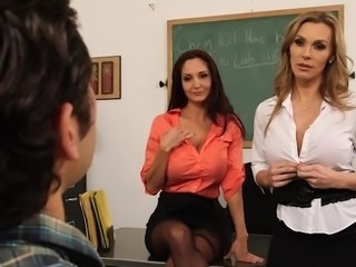 Big-Titted teachers seduce their learner inside Nice three some