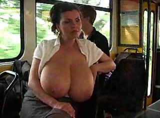 Amateur Big Tits Bus  Natural Nipples Public