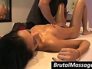 Amia Miley gets tits and ass massaged with oil