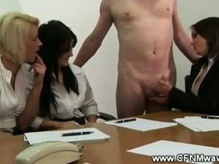 Business ladies make guy cum on the desk