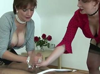 Handjob Mature Stockings Threesome