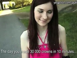 Skinny redhead chick Katie fucked wide of stranger be useful to money