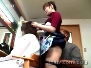 Mature Japanese hairdresser gets teased space fully working