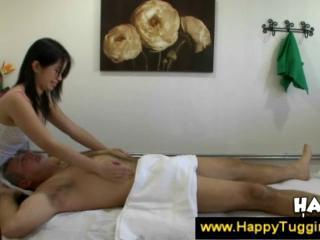Old man gets a handjob from masseuse