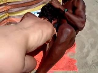 Amateur Beach Blowjob Interracial  Outdoor
