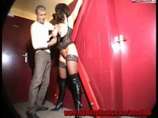 Poor Yummy Brunette Slave Girl Gets Fucked In The Men's Room