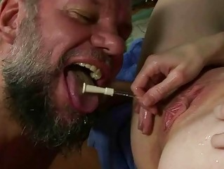 Two guys fucking and pissing on nasty grandma