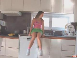 Teen upskirts in a difficulty kitchen