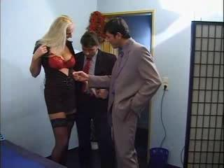 Blonde Woman With Mega Tits Fucks With Two Men