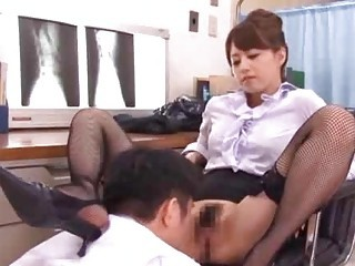 Asian Hairy Licking  Stockings