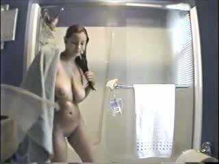 Bathroom Big Tits HiddenCam Natural  Sister Voyeur