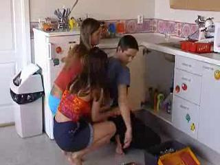 Kitchen Teen Threesome