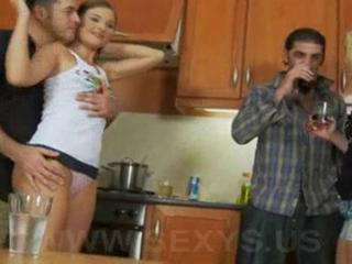 Drunk European Groupsex Kitchen  Panty